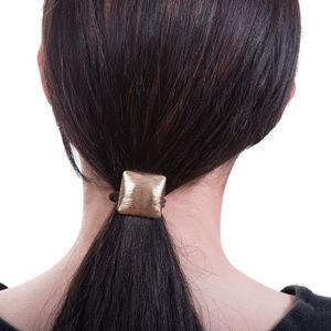 Square Convex Metal Hair Tie, Gold